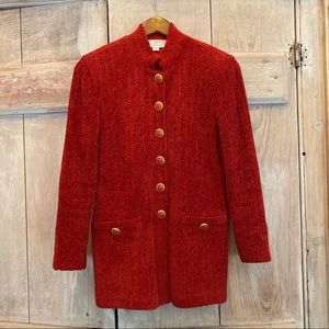 St. John Collection Red Gold Blazer Shimmery Sz 2